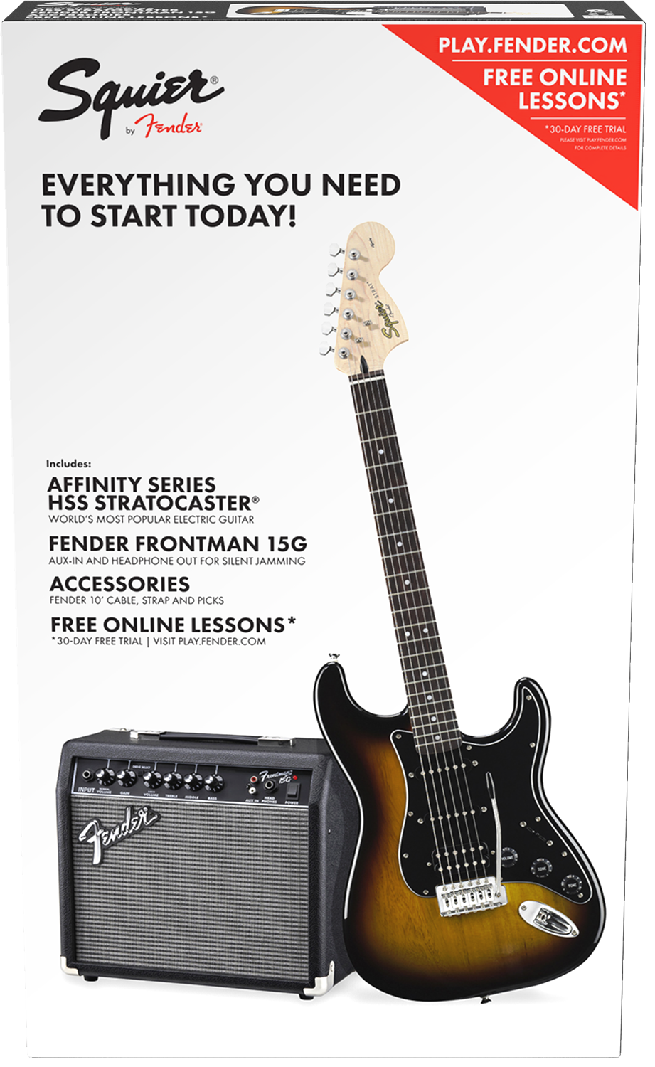 Home Central Music Jackson Js22 7 Wire Diagram The Squier Affinity Strat Pack Includes Everything You Need To Start Rocking Right Out Of Box Series Stratocaster Features A