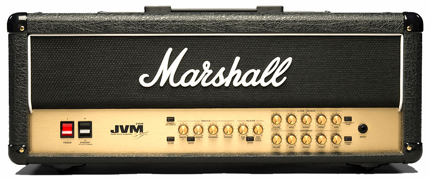 JVM210H 100-Watt All-Tube Amplifier Head The British-built 100 Watt JVM210H head offers a more straightforward two channel preamp, Clean/Crunch and Overdrive, than the JVM410H`s four channels, for guitarists who prefer a more stripped down, `fewer frills` approach.  The two independent channels both have three modes.  Each mode reconfigures the gain structure of each channel, making six modes in total, which can take you from `Plexi`/JTM45 cleans through JCM800 punch to modern high-gain tones.<br><br>The JVM210H is equipped with the same groundbreaking technology as its big brother, the JVM410H, featuring two studio quality Reverbs (one per channel), with individual channel EQ, two Master Volumes, and a memory that will recall your Reverb, FX loop and Master settings.<br><br>MODEL: JVM210H<br>RANGE: JVM2<br>TECHNOLOGY: VALVE<br>CHANNELS: 2<br><br>Electronics<br>WATTAGE: 100W<br>INPUTS: 1 (+MIDI)<br>CONTROLS: VOLUME, GAIN, BASS, MIDDLE, TREBLE x 2, REVERB x 2, CHANNEL SELECT x 2, PRESENCE, RESONANCE, FX LOOP, FOOTSWITCH/PROGRAMME<br><br>Valves<br>PRE AMP VALVEs: 4 x ECC83<br>POWER AMP VALVEs: 1 x ECC83, 4 x EL34<br><br>Accessories<br>FOOTSWITCH: YES<br>CABLES: POWER<br><br>Dimensions<br>WEIGHT (KG): 22<br>DIMENSIONS in mm: (W x H x D) 750 x 310 x 215<br><br>Other<br>EFFECTS: REVERB x 2<br>EFFECTS LOOP: YES x 2<br>UNIQUE: 3 MODES PER CHANNEL, PROGRAMMABLE FOOTSWITCH