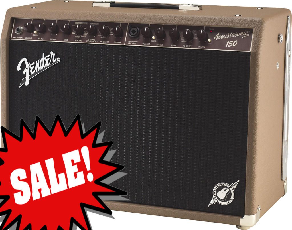 Acoustasonic 150 Combo **DEMO** reg.  $679.99 The new Fender Acoustasonic&trade; 150 is perfect for the acoustic guitarist who needs a light, loud, versatile and flexible amp loaded with tonal innovations and useful features.<br><br>The Acoustasonic 150 packs full acoustic resonance and crystal clarity into a lightweight (only 22.5 lbs.) amp with a new ultra-efficient 150-watt (2x75) stereo power amp, dual 8` foam-surround low-frequency drivers and high-frequency tweeter.  Its new Voicing control lets any guitar simulate the tonality of parlor, dreadnought and jumbo acoustics, or Voicing can be turned off for pure amp output response.  For acoustic players who double on electric guitar, the Voicing control also has Blackface, tweed and British amp settings, which makes a second amp just for electric guitar unnecessary.<br><br>Other features include instrument and microphone channels with independent EQ and effects controls, new feedback elimination control with on/off switch for each channel, patented String Dynamics&trade; control that tames harsh treble notes, effects including reverb, delay, chorus, Vibratone, and more, XLR line out with level control and ground lift, stereo effects loop, USB connector for digital recording output (and possible future firmware updates), strong five-ply plywood construction and optional two-button effects select footswitch.<br><br>Electronics<br>Controls: Instrument Channel: Volume, Treble, Mid, Bass, Voicing Select, String Dynamics, FX Select, FX Level.  Microphone Channel: Volume, Treble, Bass, Voicing Select, FX Select, FX Level<br>Effects Loop: 1/4&#34; Stereo - (Send/Return)<br>Inputs: Two - (One 1/4&#34; and One XLR)<br>Line Out: One - (Balanced XLR with Ground Lift and Level Control)<br>Channels: Two - (Instrument and MIC / INST)<br>Rectifier: NA<br>Voltage: 120V<br>Wattage: 150 Watts<br><br>Hardware<br>Cabinet Material: 5-Ply 5/8&#34; Lightweight Plywood<br>Handle: Molded Plastic Strap with Nickel-Plated Caps<br>Control Knobs: Round Brown Plastic with White Indicator Line<br><br>Tubes<br>Pre Amp Tubes: NA<br>Power Tubes: NA<br><br>Accessories<br>FootSwitch: Optional 2-Button Footswitch