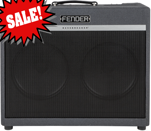 Bassbreaker 18/30 Combo *DEMO* reg.  $1149.99 Bassbreaker series guitar amplifiers continue Fender`s storied lineage with a kind of `parallel evolution` that breaks away from tradition with dark gray lacquered tweed covering, refined pointer knobs and unique circuitry as well as power tubes and speakers hinting at the U.K.  amps that `borrowed` Fender circuits in the 1960s.  The sound is one of pure tube greatness for today`s players.<br><br>The two-channel Bassbreaker 18/30 Combo offers the performance of two time-tested Fender classics.  Channel One offers pure, bell-like clean tones and warm crunch when driven, thanks to its Blackface Deluxe&trade; amp circuitry with extra headroom and 30-watt output.  Channel Two`s circuit is based on an 18-watt `61 brown Deluxe, offering plenty of power amp overdrive with easily controlled dynamics at `real world` volume levels.  An included footswitch allows easy selection between the two, and four EL84 power tubes add a distinctive midrange punch.<br><br>With pedal-friendly tube circuitry, simplicity of operation, and updated vintage aesthetics, the Bassbreaker 18/30 Combo is sure to become a modern classic.<br><br>Features:<br><br> *Channel one is a 30-watt version of the blackface Fender Deluxe&trade; amp, delivering bell-like clean tones that gradually warm up with a twist of the volume control<br> *Channel two is an 18-watt version of the brown 1961 Deluxe amp, for lower-headroom tube tone and warm, compressed overdrive<br> *Channel-selection footswitch included<br> *Four EL84 output tubes for tighter rock distortion character<br> *Simple signal path for pedal-friendly operation<br> *Two 12` Celestion&reg; V-Type speakers for tight response and `vocal` tone character<br> *Cabinet has Birch ply construction and semiclosed back for full, resonant response and low end `thump`<br> *Matches perfectly with optional BB-212 extension cabinet<br><br>Electronics<br>Controls: Volume, Bass, Middle, Treble, Channel switcher, Volume, Tone<br>Inputs: One - 1/4&#34;<br>Line Out: One - Post Power Amp<br>Channels: Two<br>Rectifier: Solid State<br>Voltage: 120V<br>Wattage: 18/30 Watts<br><br>Hardware<br>Cabinet Material: Birch Ply<br>Handle: Black Leather Handle<br>Front Panel: Black<br>Control Knobs: Black Plastic<br><br>Tubes<br>Pre Amp Tubes: 2 x 12AX7<br>Power Tubes: 4 X EL84<br><br>Miscellaneous<br>Included Accessories: Includes amp cover (p/n 7707569000) and footswitch<br><br>Accessories<br>FootSwitch: 1-Button Footswitch Included<br><br>*only one available, SN M1657234