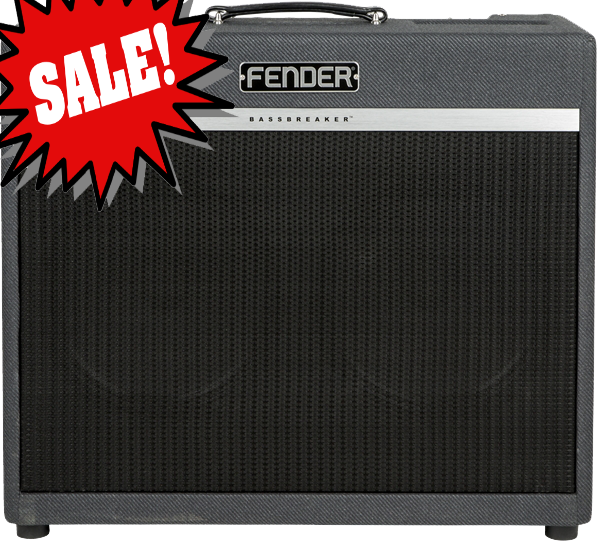 Bassbreaker 45 Combo *DEMO* reg.  $1349.99 The late-`50s tweed-covered Fender Bassman is often called `the grandfather of all amps.` It is beloved by guitarists worldwide for its simplicity, versatility, dynamic range, warm tube overdrive, stage-filling power and rugged roadworthiness.<br><br>Bassbreaker series guitar amplifiers continue Fender`s storied lineage with a kind of `parallel evolution` that evokes the dawn of hard rock.  Bassbreaker takes the original Bassman design and breaks away with features including dark gray lacquered tweed covering, refined pointer knobs and unique circuitry plus power tubes and speakers hinting at the U.K.  amps that `borrowed` Fender circuits in the 1960s.  The sound is one of pure tube greatness.<br><br>The Bassbreaker 45 is the 45-watt flagship model that leads a first-rate lineup of lower-wattage models, all with pro-level tone and performance for today`s rock players.<br><br>Features:<br><br> *`59 Bassman circuit with incredible touch sensitivity, dynamics, and `pedal friendly` response<br> *Dual EL34 output tubes for tighter rock distortion character<br> *Output level knob takes power from 45 watts to a single watt and anywhere in between, tailoring full-powered Bassman overdrive capabilities for studio, stage and arena - players can dial up many `sweet spots` with various combinations of level and channel settings<br> *Normal and Bright inputs, plus BOTH input for achieving legendary `channel blend` tonal variations without a patch cable<br> *Two 12` Celestion&reg; V-Type speakers for tight response and `vocal` tone character (combo only)<br> *Cabinet has Birch Ply construction and semi-closed back for full, resonant response and low-end `thump` (combo only)<br> *Matching BB-212 enclosure fits perfectly under Bassbreaker 45 combo or head<br><br>General<br>Model Name: Bassbreaker&trade; 45 Combo, 120V<br>Model Number: 2265000000<br>Series: Bassbreaker<br>Amplifier Type: Class A/B<br>Color: Gray Tweed<br><br>Electronics<br>Controls: Volume Normal, Volume Bright, Output, Bass, Middle, Treble, Presence<br>Inputs: Three - Normal, Bright, Both<br>Channels: One<br>Rectifier: Solid State<br>Voltage: 120V<br>Wattage: 45 watts<br><br>Hardware<br>Cabinet Material: 7-ply 3/4&#34; Meranti plywood<br>Handle: Black Leather Handle<br>Front Panel: Black<br>Control Knobs: Black Plastic<br><br>Tubes<br>Pre Amp Tubes: 3 x 12AX7<br>Power Tubes: 2 X EL34<br><br>Miscellaneous<br>Included Accessories: Includes amp cover (p/n 7706657000)<br><br>Accessories<br>FootSwitch: NA<br><br>*only one available, SN M1669803
