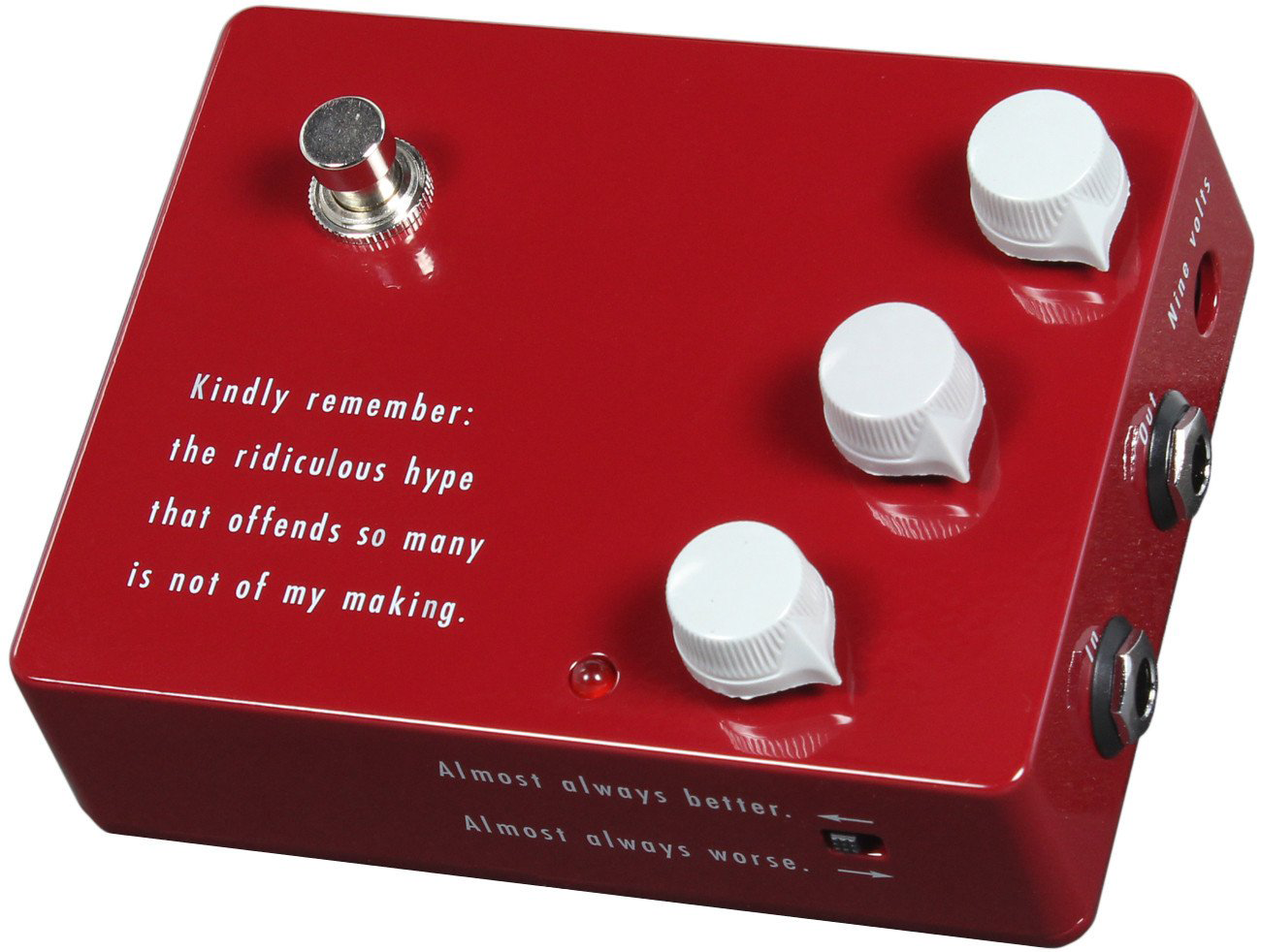 Official Klon Ktr Professional Overdrive Pedal The (revised) legendary Klon Centaur Boost/OD that has captured the gearheads imagination for the last 20 years, is finally available to the masses!  100% designed by Bill Finnegan!  Possessing truly legendary tone, the Klon KTR is a modern masterpiece that has completely transformed what guitarists all over the world have come to expect from this Left-to-right, the controls are Gain, Treble, and Output.  The Gain setting determines how much or how little distortion the unit is generating on its own, Treble and Output are self-explanatory.  For aesthetic reasons it mode no sense to include the control designations as part of the screen printing on the unit,* but here is a useful mnemonic device: GIG.