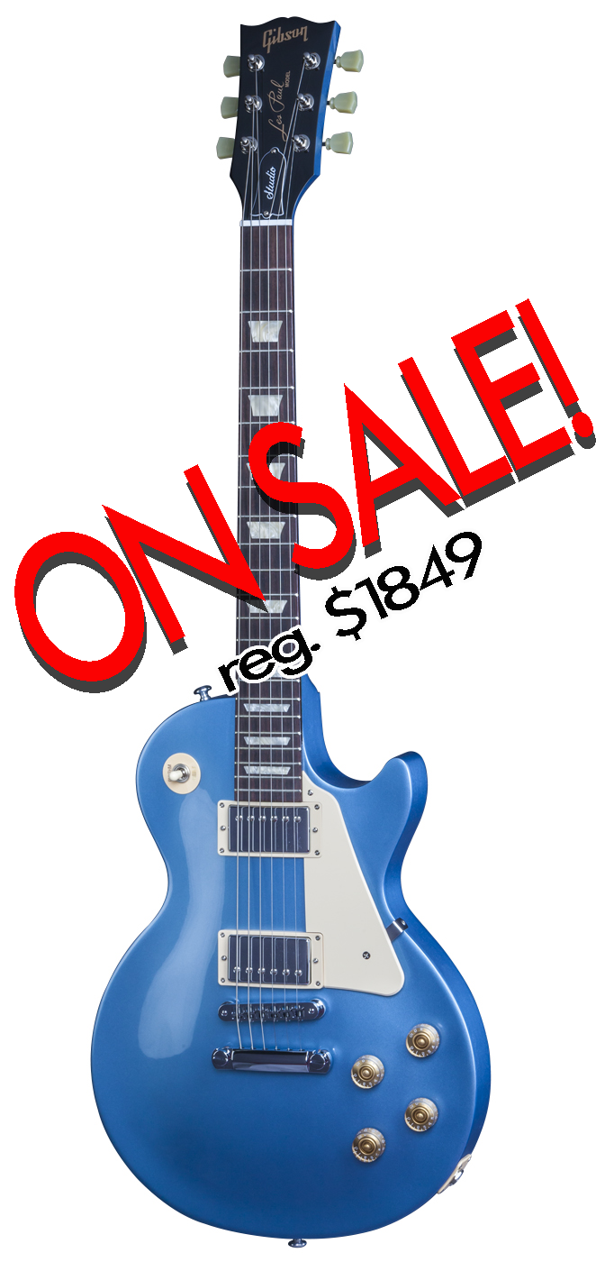 Les Paul Studio 2016 T in Pelham Blue The Les Paul Studio 2016 T delivers classic Les Paul tone, style, and playing feel as well as the versatile voices of split coil humbucking pickups - all in a package that represents amazing value for a genuine American-made Gibson electric guitar.  <br><br> -Tuners: Traditional manual tuners<br> -Neck width: Traditional neck width of 1 11/16&#34; at the nut<br> -Nut: TekToid nut<br> -Neck heel: Classic Les Paul neck heel<br> -Case: Traditional brown hard shell case<br> -Body: Carved maple top over mahogany with modern weight relief<br> -Pickups: Gibson`s popular 490R and 498T humbuckers<br> -Fingerboard: Thicker rosewood fingerboard<br> -Setup: Comprehensive, hand-finished expert setup<br> -Finish: Thin high-gloss nitrocellulose lacquer finish<br><br>Top<br>Wood Species: Maple<br>Pieces: 2<br>Grade: C<br>Binding: None<br> <br>Back<br>Wood Species: Mahogany<br>Pieces: Multi<br>Density: Medium<br>Binding: None<br><br>Neck<br>Wood Species: Mahogany<br><br>Nut<br>Style: Nut<br>Material: TekToid<br><br>Fingerboard Inlays<br>Style: Trapeziods<br><br>Pickups 	<br>Rhythm: 490R 		<br>Lead: 498T<br><br>Tuning Keys<br>Style: Grover Green Keys<br><br>Bridge<br>Style: Tune-o-matic<br>Material: Zamac<br>Plating Specs: Chrome<br><br>Tailpiece<br>Style: Stop Bar<br>Material: Zamak<br>Plating Specs: Chrome<br><br>Case<br>Style: Les Paul Hard Shell<br>Color: Brown<br>