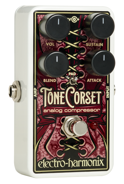 Tone Corset Analog Compressor The Tone Corset, our new four-knob analog compressor, squeezes your guitar tone in all the right ways!  Mike Matthews says, &#34;The Tone Corset is the funkiest analog compressor I ever heard on guitar!&#34;<br><br>Quick Specs<br>-Four-knob design provides excellent control and gives the user the ability to precisely shape their instrument`s dynamics.<br>-The Sustain knob controls the amount of compression applied to the guitar signal.<br>-The Attack know adjusts how quickly the compressor recovers.  As Attack is turned clockwise the pedal`s response is slower and more initial pick attack comes thru.<br>-The Blend knob adjusts the mix of the dry and compressed signals.<br>-Volume controls the overall output level.<br>-The Pad switch pads down the input signal to prevent undesirable distortion if the Tone Coret is used with high output humbuckers, bass guitar, etc.<br>-True Bypass for maximum signal path integrity.<br>-Comes with a 9Volt battery.<br>