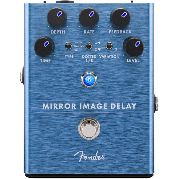 Mirror Image Delay Pedal There`s no denying the power of a good delay, ranging from subtle to smashing, this ambient effect is one of the cornerstones of modern music.  The Mirror Image Delay brings this atmospheric effect to your rig, giving you the ability to create depth with a simple slapback or develop an epic soundscape with modulated repeats.  Digital, Analog, and Tape mode-each with two voicing variations-make this expressive and inspiring pedal indispensable.  It even has the option to add a dotted-eighth note for those Irish-inspired washes of sound.  The delay tails continue when the pedal is bypassed, ensuring a natural sound.<br><br>Designed by our in-house team of experts, the Mirror Image Delay is an all-original circuit.  We consulted with a plethora of players while designing this pedal, and the resulting stompbox is packed with stage-ready features.  The chassis is crafted from lightweight, durable anodized aluminum, and the Amp Jewel LED gives your pedalboard the classic Fender look.  The LED-backlit knobs show your control settings on a dark stage at a glance.  We even made swapping batteries quicker and easier with our exclusive `patent applied for`, magnetically latched 9V battery door.<br><br>Expressive and inspiring, the Mirror Image Delay is the latest offering from the company that defined legendary tone-Fender.<br><br>