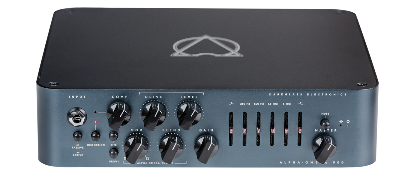 Alpha Omega 900 Bass Amplifier Head The Alpha-Omega 900 takes the best elements of our most successful distortion preamplifier ever, combined with state of the art features to make a monstrous 900-watt amplifier with earth-shattering tone.  While Darkglass` signature Alpha and Omega drive engines add incredible girth and size to the overdriven signal, the studio-grade VCA compressor adds an extra layer of control, and the ultra-quiet 6-band graphic equalizer can help sculpt the tone from aggressive and overdriven to crystal clear clean, whatever your needs may be.<br><br>That`s not everything though, the MIDI programmability and impulse response cabinet simulation with up to three different storable virtual cabinets make the AO900 not only one of the most complete amplifiers for the touring musician but combined with the auxiliary input and headphone output, the ideal tool for silent practicing.<br><br>The Alpha Omega 900 amplifies the best qualities of one of the most powerful and distinct Darkglass products ever made.  <br><br>Front Panel Features<br>Input: Use this jack to connect your instrument via a standard 1/4` mono cable.<br><br>Active/Passive: Use this push-button switch to change from passive to active mode.  If your bass is active it can have a hotter signal making the amp to distort early (feel free to use if such additional distortion is desired).<br><br>Distortion: Use this push button to turn on or off the Alpha-Omega Engine™ to add natural compression, organic harmonic enhancement, and saturation ranging from mild overdrive to high gain bass rage.<br><br>The Alpha-Omega Engine operates before the clean section (you can therefore use the 6-Band Active EQ for additional tone shaping).<br><br>Bite: Boosts high mids (2.8kHz) for additional presence and definition.<br><br>Growl: Shelving Bass Boost for a fatter tone and increased low end saturation.<br><br>Compression: This knob controls the amount of dynamic compression added to the Alpha-Omega Engine.  The make up gain is adjusted automatically.  The compression can be turned off or assigned using the Darkglass Suite.<br><br>Drive: This knob controls the amount of distortion that the Alpha-Omega Engine will deliver.  It will change from a soft, warm overdrive to a massive and modern distortion sound.<br><br>Level: Use this knob to control Alpha-Omega Engine`s output volume.<br><br>Blend: Use this knob to mix between the Clean signal and the Distortion signal (Alpha-Omega Engine).<br><br>Mod: Selects or mixes between the two distinct distortion circuits: Alpha is punchy, tight with a lot of definition, whereas Omega is simply brutal and raw.<br><br>Gain: Use this knob to change the volume of the signal before the Active 6 Band EQ.  You can set it low for ensuring the cleanest operation possible or set it higher for a more aggressive growl.<br><br>Bass: +-12dB at 80Hz.  Use this knob to change the low-end content of the signal.<br><br>Mids: +-12dB at 250, 500, 1.5K and 3Khz.  This graphic EQ control the mid content of the signal.<br><br>Treble: +-12dB at 5kHz.  Use this knob to change the high content of the signal.<br><br>Master: Use this knob to control the overall volume of the amplifier.<br><br>Mute: Use this push button to mute the amplifier.<br><br>DIMENSIONS:<br>26.7cm l x 7cm h 25.5 w (10.5`l x 2.75`h x 10`w) / Weight: 2.9Kg (6.39Lbs)<br>