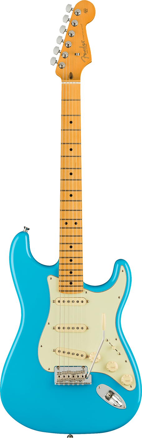 "American Professional II Stratocaster, Maple Fingerboard in Miami Blue The American Professional II Stratocaster® draws from more than sixty years of innovation, inspiration and evolution to meet the demands of today`s working player.<br><br>Our popular Deep `C` neck now sports smooth rolled fingerboard edges, a `Super-Natural` satin finish and a newly sculpted neck heel for a supremely comfortable feel and easy access to the upper register.  New V-Mod II Stratocaster single-coil pickups are more articulate than ever while retaining bell-like chime and warmth.  An upgraded 2-point tremolo with a cold-rolled steel block increases sustain, clarity and high-end sparkle.<br><br>The American Pro II Stratocaster delivers instant familiarity and sonic versatility you`ll feel and hear right away, with broad ranging improvements that add up to nothing less than a new standard for professional instruments.<br><br>Series: American Professional II<br>Country Of Origin: US<br>Color: Miami Blue<br>Body: Alder<br>Body Finish: Gloss Urethane<br>Body Shape: Stratocaster®<br>Neck Material: Maple<br>Neck Finish: `Super-Natural` Satin Urethane Finish on Back of Neck with Gloss Urethane Headstock Face<br>Neck Shape: Deep ""C""<br>Scale Length: 25.5"" (648 mm)<br>Fingerboard: Maple<br>Fingerboard Radius: 9.5"" (241 mm)<br>Number of Frets: 22<br>Frets Size: Narrow Tall<br>String Nut: Bone<br>Nut Width: 1.685"" (42.8 mm)<br>Position Inlays: Black Dot<br>Bridge Pickup: V-Mod II Single-Coil Strat®<br>Middle Pickup: V-Mod II Single-Coil Strat®<br>Neck Pickup: V-Mod II Single-Coil Strat®<br>Controls: Master Volume, Tone 1.  (Neck/Middle Pickups), Tone 2.  (Bridge Pickup)<br>Pickup Switching: 5-Position Blade: Position 1.  Bridge Pickup Position 2.  Bridge and Middle Pickup Position 3.  Middle Pickup Position 4.  Middle and Neck Pickup Position 5.  Neck Pickup<br>Pickup Configuration: SSS<br>Bridge: 2-Point Synchronized Tremolo with Bent Steel Saddles, Pop-In Tremolo Arm and Cold-Rolled Steel Block<br>Hardware Finish: Nickel/Chrome<br>Tuning Machines: Fender® Standard Cast/Sealed Staggered<br>Pickguard: 3-Ply Mint Green<br>Control Knobs: Aged White Plastic<br>Strings: Fender® USA 250L Nickel Plated Steel (.009-.042 Gauges), PN 0730250403<br>Case: Deluxe molded case (included)"