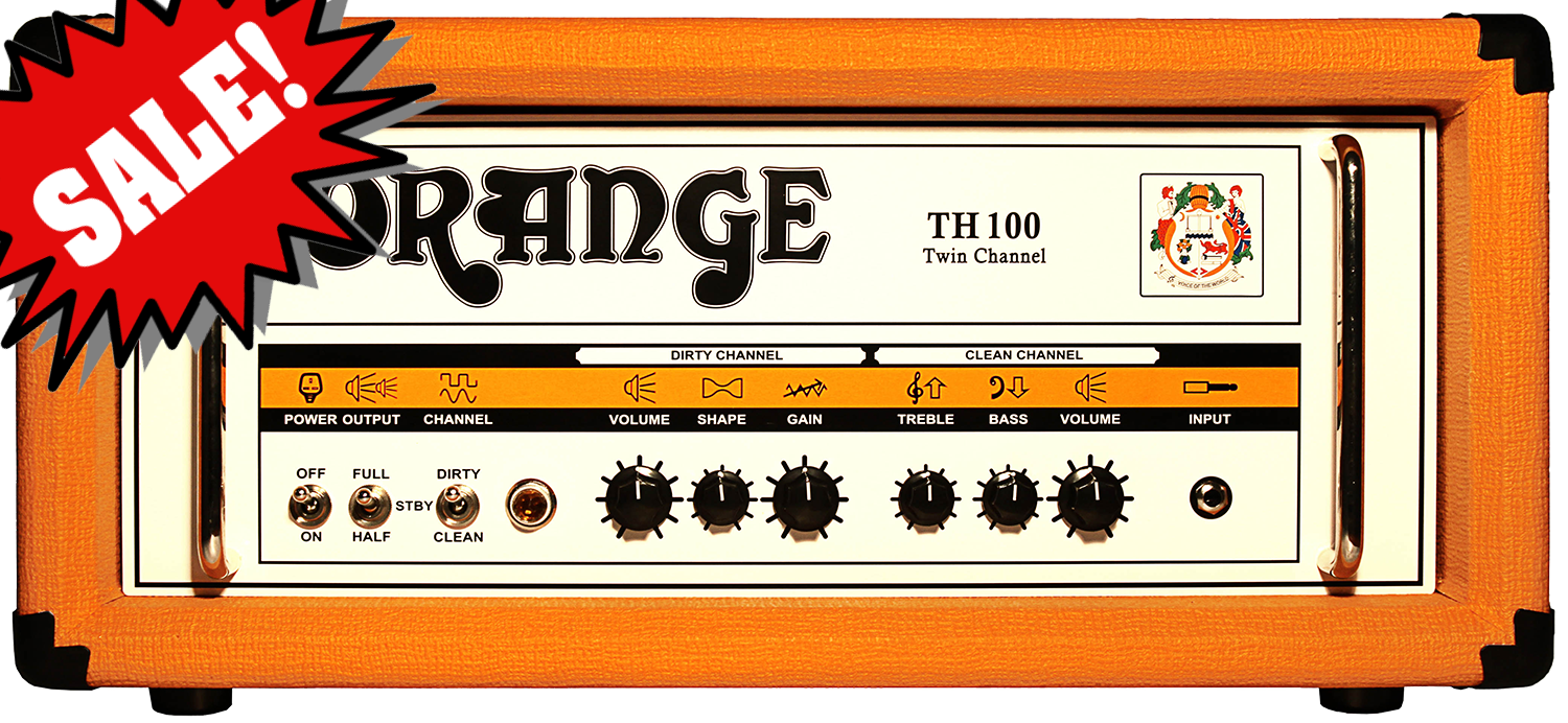 TH100 All-Tube Amplifier Head (DEMO) Reg.  $2099 The Orange TH100 is an incredibly versatile amp packed full of face-melting rock and metal tones, but capable of cleaning up to a sparkly chime.  Those who hear it reminisce about the now infamous Orange AD140, an amp considered by many to have been the best lead amp ever made.  The Orange TH100 has only six knobs split between dedicated clean and dirty channels.  Dial in everything from blues to country, classic rock to nu-rock, and then finish off by dialing the shape knob to 10 for the perfect metal tone.<br><br>A power selection switch on the amp`s front panel, coupled with the option of removing two output valves from the circuit on the back panel, allow the player to choose between 100 watts, 70 watts, 50 watts, and 35 watts RMS output.  It`s like having 4 amps in 1!<br><br>Orange is proud to say that the TH100 is the highest wattage, highest gain (yet still the cleanest) amp Orange has ever made.<br><br>Controls:<br>- CLEAN CHANNEL: Volume, Bass, Treble<br>- DIRTY CHANNEL: Volume, Shape, Gain<br>- Half-power switch on front<br>- 2 or 4 power tube switch on rear<br><br>Output:<br>- Output HALF, 2 Output Tubes: 35w, Class AB-1<br>- Output HALF, 4 Output Tubes: 70w, Class AB-1<br>- Output FULL, 2 Output Tubes: 50w, Class AB-2<br>- Output FULL, 4 Output Tubes: 100w, Class AB-2<br>- (The power amp will overdrive earlier when switched to the HALF, Class AB-1 position)<br><br>Valves:<br>- Preamp: 4 x ECC83/12AX7<br>- Output: 4 x EL34<br>- Effects Loop: 1 x ECC81/12AT7<br>- Speaker Out: (1) 16 Ohm, (2) 8 Ohm<br>- Dimensions (W x H x D): 55 x 24 x 24 cm