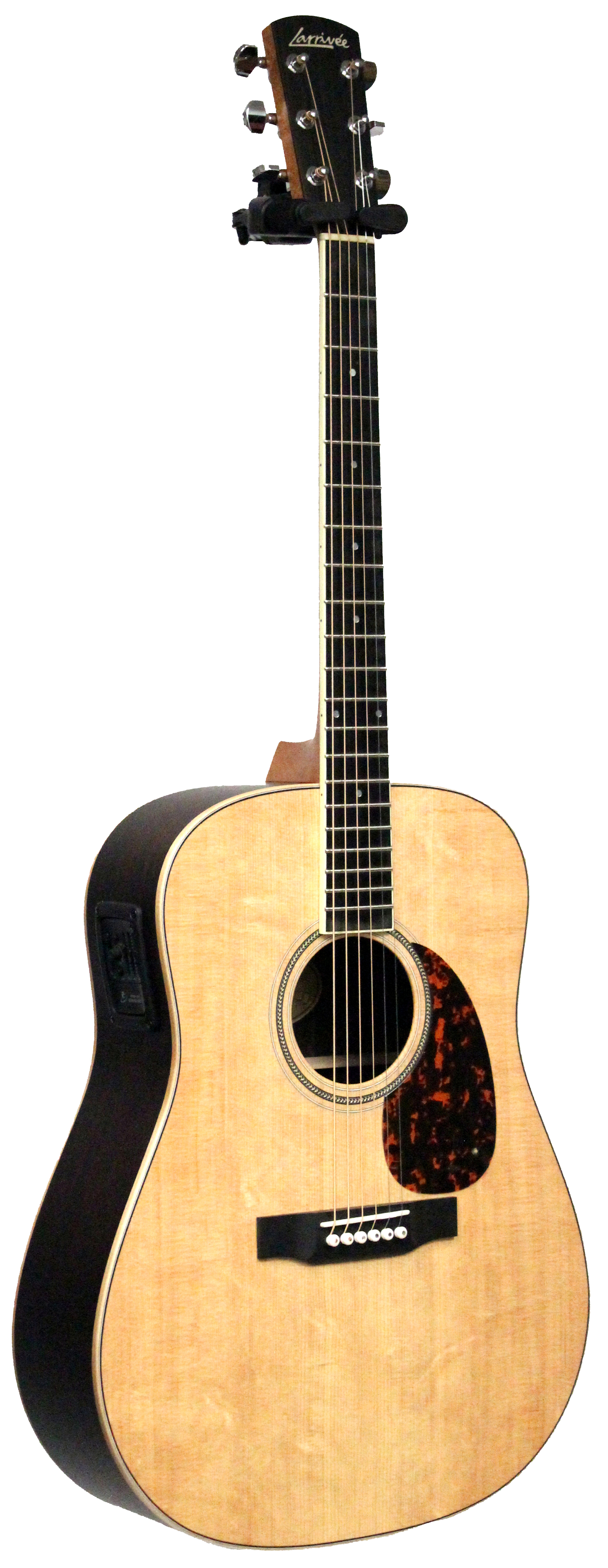 D-03RE Acoustic/Electric Guitar **ON SALE** *All Solid wood Construction<br>*Single Piece Mahogany Neck<br>*Canadian Sitka Spruce Sound Board & Bracing<br>*African Ebony Fretboard & Bridge <br>*Canadian Maple Body Binding <br>*Rosewood Back & Sides <br>*Symmetrical Parabolic X-Bracing <br>*Hand fit Dovetail Neck Joint <br>*Rounded Larrivee Headstock<br>*White Inlaid Larrivee Logo <br>*Herringbone Inlaid Rosette <br>*Ping Tuners w/ 18:1 Ratio <br>*Ivoroid Fretboard Binding <br>*Exclusive Beveled Tortis pickguard <br>*Microdot Fretboard Markers <br>*Limited Lifetime warranty <br>*L.R.  Baggs Stagepro Element system (Single Source)<br>*case included<br><br>COMPARE AT REGULAR PRICE: $1975